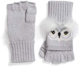 Kate Spade Who Me Owl Merino Wool Pop-Top Mittens