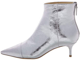 Alexandre Birman Kittie Metallic Leather Low-Heel Point-Toe Booties