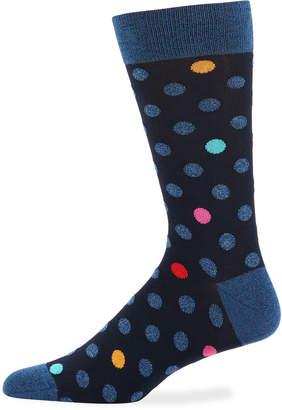 Bugatchi Men's Polka-Dot Cotton-Blend Socks, Dark Blue