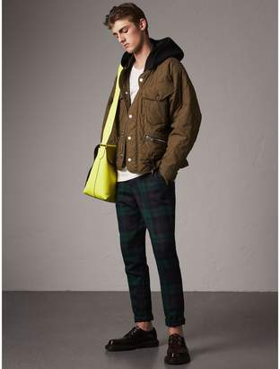 Burberry Detachable Hood Quilted Cotton Bomber Jacket