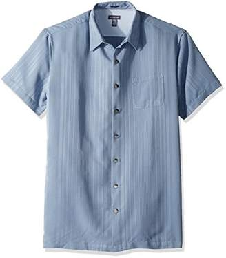 Van Heusen Men's Size Big and Tall Short Sleeve Rayon Poly Engineered Panel Shirt Chinois Green