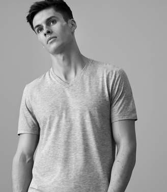 Reiss DAYTON MARL V-neck T-shirt Grey Marl