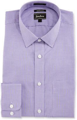 Neiman Marcus Trim-Fit Regular-Finish Check Dress Shirt, Purple