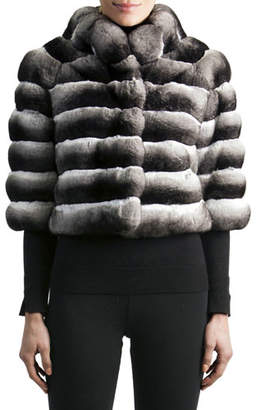 Gorski 3/4-Sleeve Chinchilla Fur Jacket