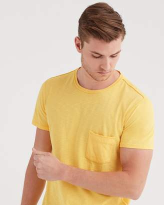 7 For All Mankind Short Sleeve Raw Pocket Crew In Primary Yellow
