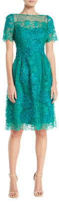 Rickie Freeman For Teri Jon Short-Sleeve Dress w/ Floral Embroidery
