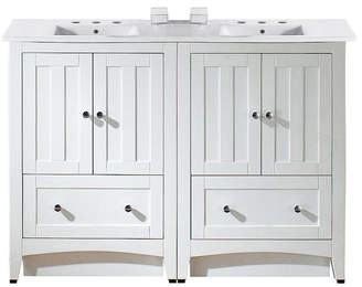 American Imaginations 48-in. W Floor Mount White Vanity Set For 3H8-in.Drilling