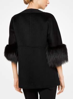 Michael Kors Fur-Cuff Cashgora-Melton Jacket