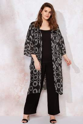 Live Unlimited Womens Black Mono Abstract Floral Kimono Jacket - Black