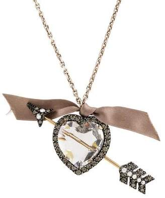 Lanvin Crystal Heart & Arrow Necklace