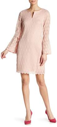 Robbie Bee Embroidered Long Bell Sleeve Dress