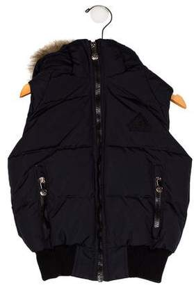 Pyrenex Boys' Faux Fur-Trimmed Hooded Vest w/ Tags