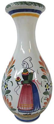 One Kings Lane Vintage Antique Quimper Woman Vase