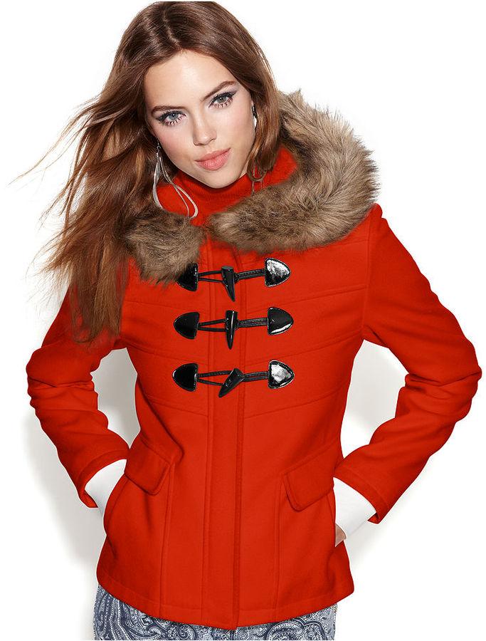 BCBGMAXAZRIA Hooded Faux-Fur-Trim Toggle-Front Duffle Coat