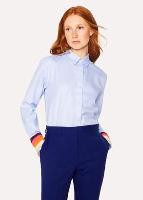 Paul Smith Women's Blue Cotton Shirt With 'Artist Stripe' Cuffs