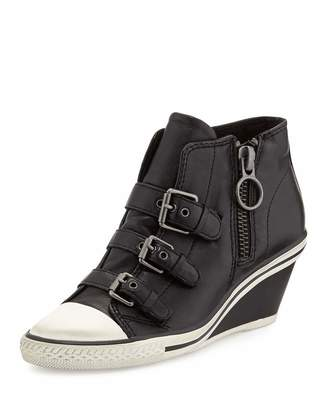 Ash Gin Bis Buckled Leather Wedge Sneaker, Black $159 thestylecure.com