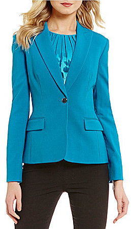Calvin KleinCalvin Klein Notch Lapel Long Sleeve Button Front Solid Luxe Stretch Suiting Jacket