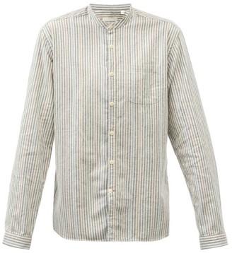 Oliver Spencer Grandad Collar Cotton Shirt - Mens - Navy