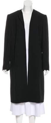 Halston Collarless Long Coat