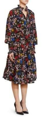Erdem Eugenie High Neck Ruffle Trim Silk Dress