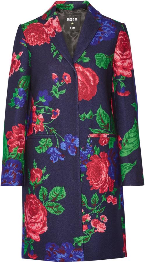 MSGM Floral-print wool-blend coat