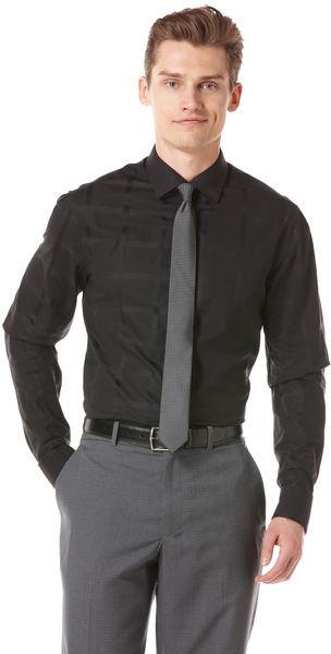 Perry Ellis Satin Plaid Slim Fit Dress Shirt