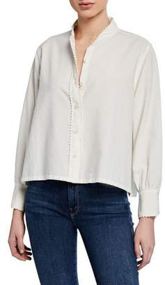 The Great The School House Button-Up Top w/ Rickrack Trim