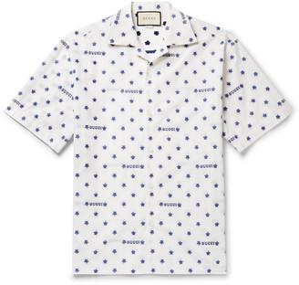 Gucci Camp-Collar Fil Coupe Cotton-Poplin Shirt - Men - White