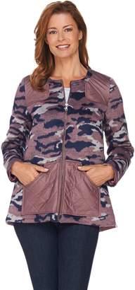 Logo By Lori Goldstein LOGO by Lori Goldstein Brushed Camo Zip Front Jacket