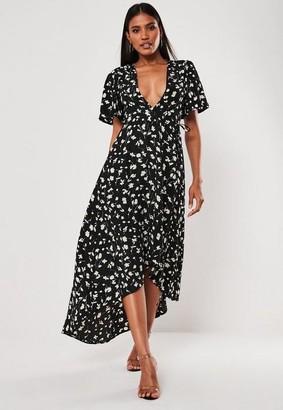 Missguided Black Floral Dip Hem Midi Dress, Black