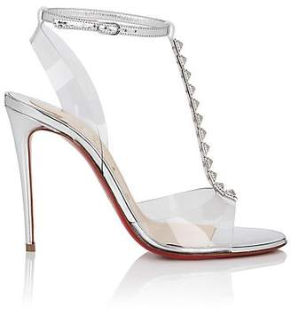 Christian Louboutin Women's Jamais Assez Studded Leather & PVC Sandals - Version Silver