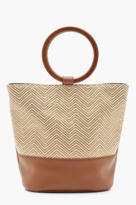 boohoo Raffia Bucket Bag With Wooden Handle