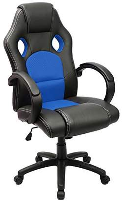 Gaming Chair Racing Computer Chair PU Leather Swivel Office Desk Seat PU Leather and Mesh Bucket Seat Lumbar Support(Blue)