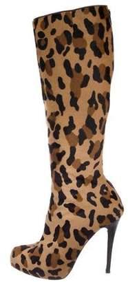 Christian Louboutin Ponyhair Round-Toe Knee-High Boots