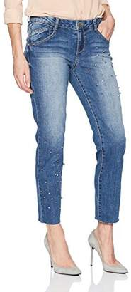 Democracy Women's Flex Ellent Straight Slim Flood with Pearl Embroidery