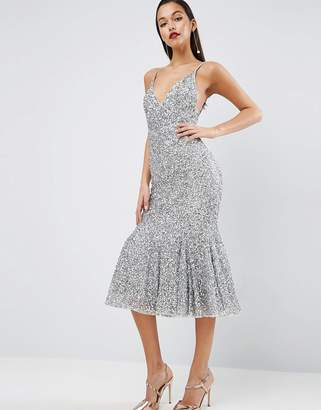 ASOS RED CARPET Scattered Sequin Midi Fishtail Dress $181 thestylecure.com