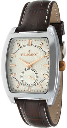 Peugeot Mens Brown Leather Strap Tonneau Watch