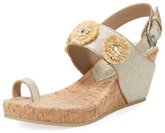 Donald J Pliner Gilly Floral Cork-Wedge Metallic Leather Sandal