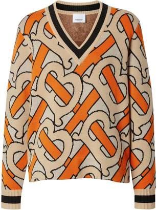 Burberry Monogram Intarsia Wool V-neck Sweater