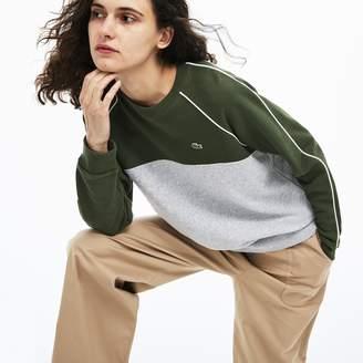 Lacoste Women's Crew Neck Contrast Bands Crepe Fleece Sweatshirt