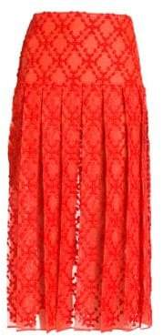 Fendi Pleated Midi Sangallo Organza Skirt