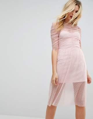 Asos Ruched Midi Dress In Spot Mesh