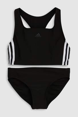 adidas Girls Black 3 Stripe Bikini - Black