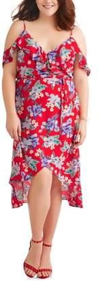 Paper Tee Women's Plus Flutter Cold Shoulder Floral Wrap Maxi Dress