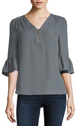 Liz Claiborne 3/4 Sleeve V Neck Woven Blouse