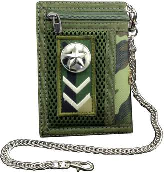 Hunter crazy Men/Boy Army fans Star Trifold Wallet Card Holder Purse And Safety Metal Chain