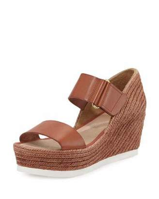 Andre Assous Gretta Leather Espadrille Wedge Sandal, Cuero $229 thestylecure.com