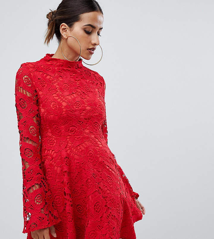 Prettylittlething PrettyLittleThing lace fluted sleeve skater dress in red