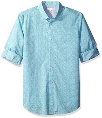 Calvin Klein Men's Long Sleeve Voile Floral Roll-Tab Button Down Shirt