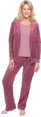 Noble Mount Women's Premium Coral Fleece Plush Zip Jacket Lounge Set